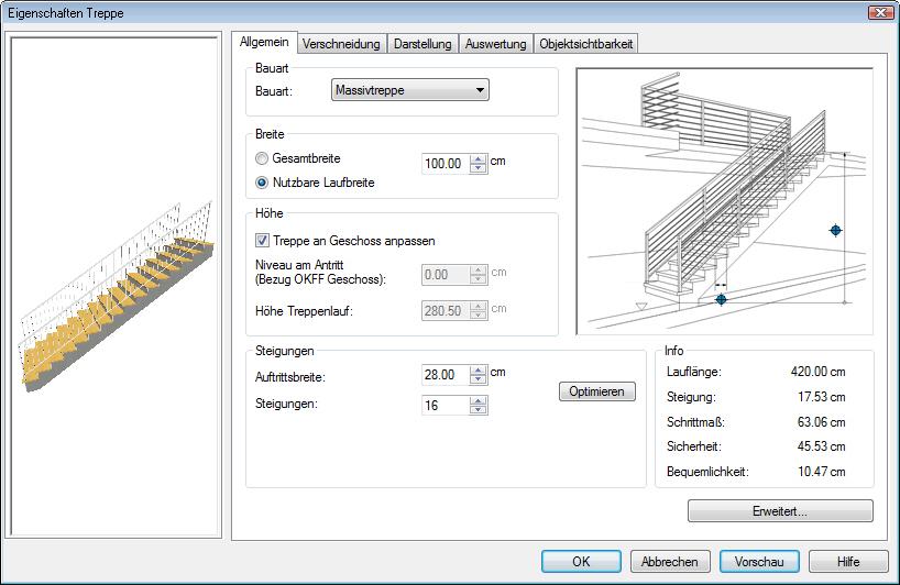 Grundriss Zeichnen In Excel : In der Registerkarte Allgemein wird die Treppengeometrie festgelegt